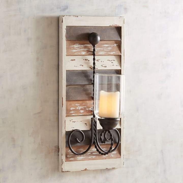 White Wooden Plank Candle Holder Wall Sconce
