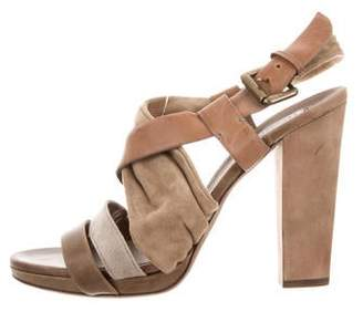 Brunello Cucinelli Suede High Heels Sandals