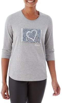 Olsen Berry Love Patched Heart Graphic Tee