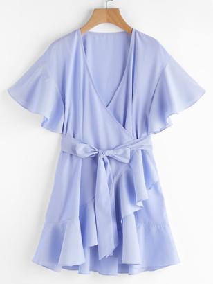 Shein Frill Detail Surplice Wrap Striped Dress