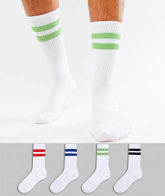 Jack and Jones 4 pack socks in mixed stripe