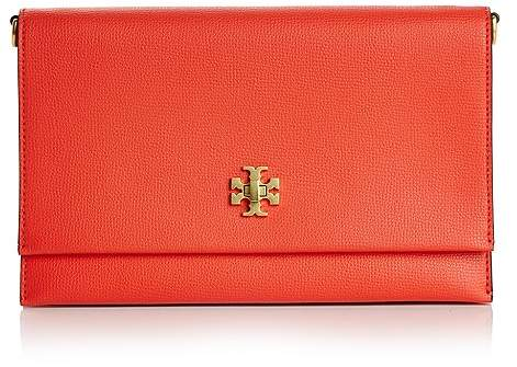 Tory Burch Kira Leather Clutch - POPPY RED/GOLD - STYLE