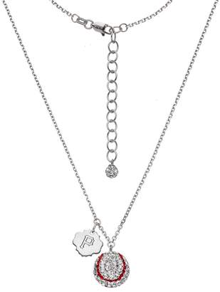 Pittsburgh Pirates Crystal Sterling Silver Baseball & Logo Charm Necklace