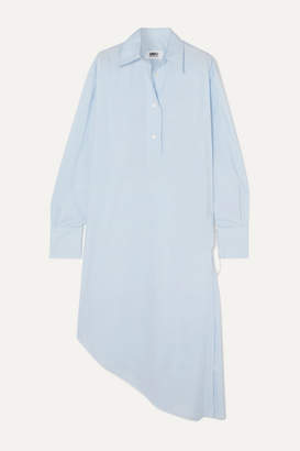 MM6 MAISON MARGIELA Oversized Asymmetric Cotton-poplin Dress - Light blue