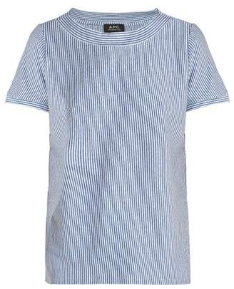 A.P.C. Mara Striped Linen Blend T Shirt - Womens - Blue Stripe