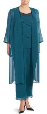Brianna Plus Three-Piece Sheer Kimono, Top and Pants