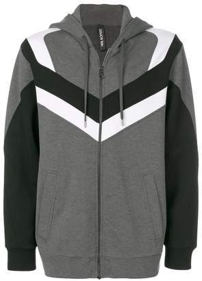 Neil Barrett stripe panel zipped hoodie