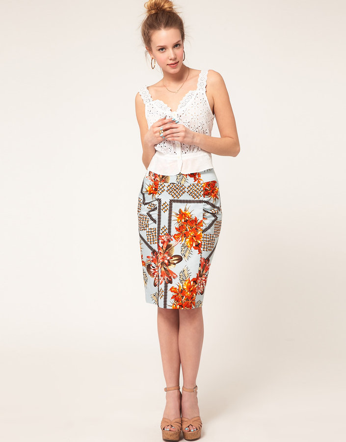 River Island Tropical Floral Skirt