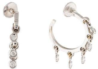 Christian Dior 18K Coquin Diamond Hoop Earrings