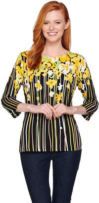 Bob Mackie Bob Mackie's Floral Print 3/4 Sleeve Jersey Knit Top