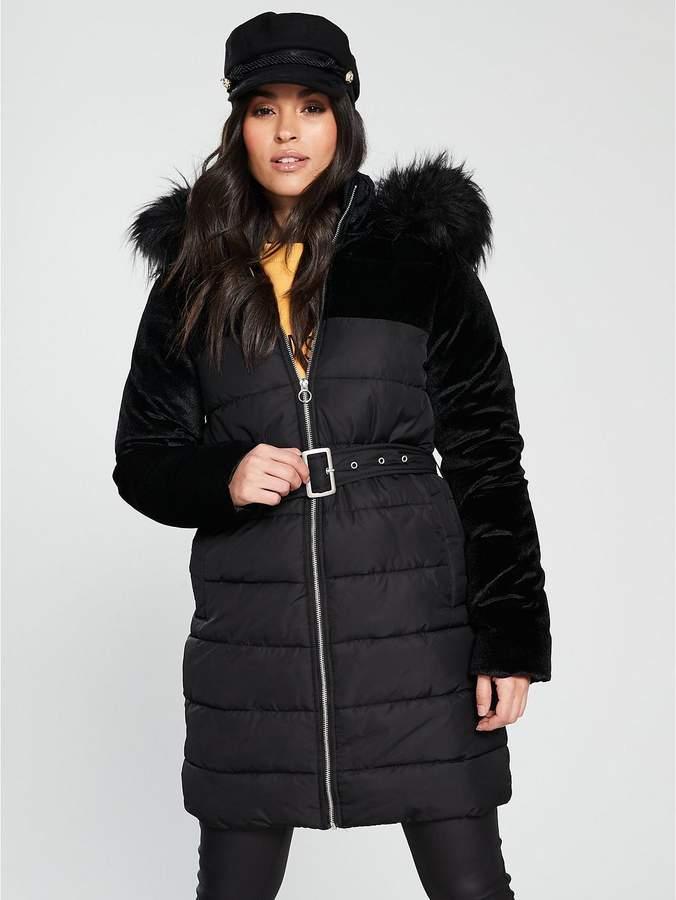 Velvet Mix Padded Coat - Black