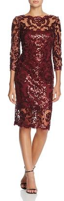 Tadashi Shoji Three-Quarter Sleeve Sequin Lace Dress $388 thestylecure.com