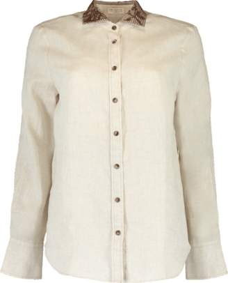 Brunello Cucinelli Embroidered Linen Western Blouse