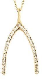 Jennifer Meyer Yellow Gold Diamond Wishbone Pendant