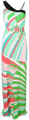 Emilio Pucci Shell Print Single Shoulder Belted Maxi Dress