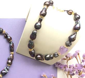 Farra - Natural Baroque Pearls & Amethyst Necklace