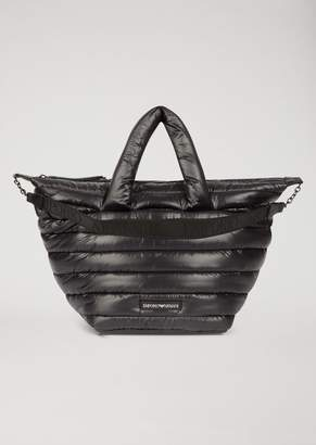 Emporio Armani Quilted Padded Bag With Shoulder Strap And Logo
