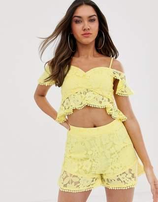 Bardot Love Triangle ruffle lace crop top two-piece in soft lemon