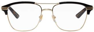 Gucci Black and Gold Retro Aviator Glasses