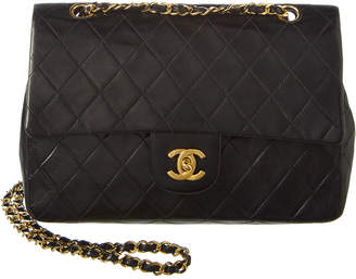 Chanel Black Quilted Lambskin Leather Medium Classic Double Flap Bag