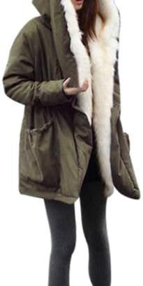 BESSKY Women Winter Fleece Faux Fur Coat Jacket Parka Hooded Trench Outwear