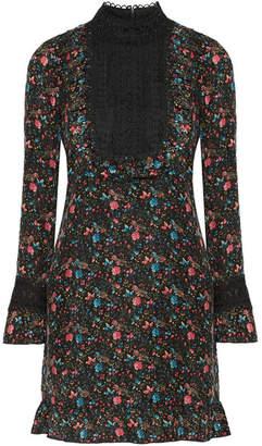 Anna Sui Lace-paneled Printed Silk-blend Jacquard Mini Dress - Black