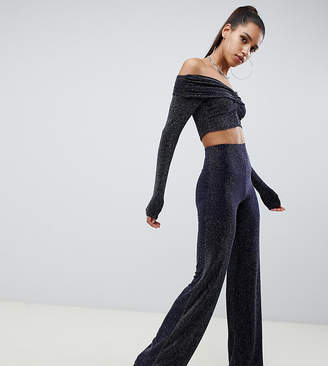 Missguided glitter co ord wide leg trouser in navy