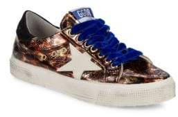 Golden Goose May Superstar Leopard Print Leather Sneakers