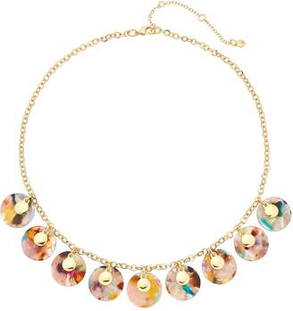 Gold Tone Multi Colored Acetate Disc Statement Necklace