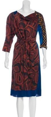 Dries Van Noten Silk Midi Dress Brown Silk Midi Dress