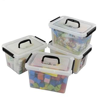 clear Ggbin 7 Quart Latch Storage Box with Black Handle and Latches - 4 Pack
