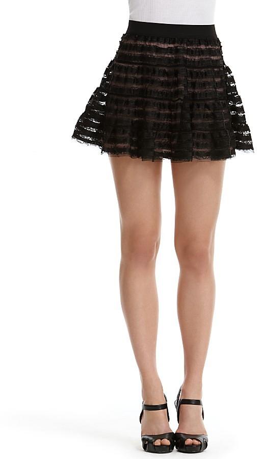 Aqua Ruffled Lace Miniskirt