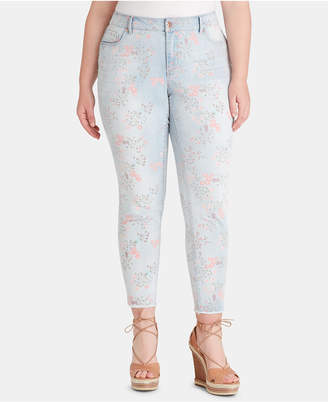 Jessica Simpson Juniors' Plus Size Floral-Print Skinny Jeans