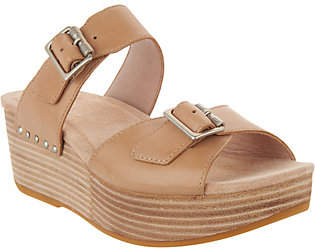 Dansko Leather Wedge Slide Sandals - Selma