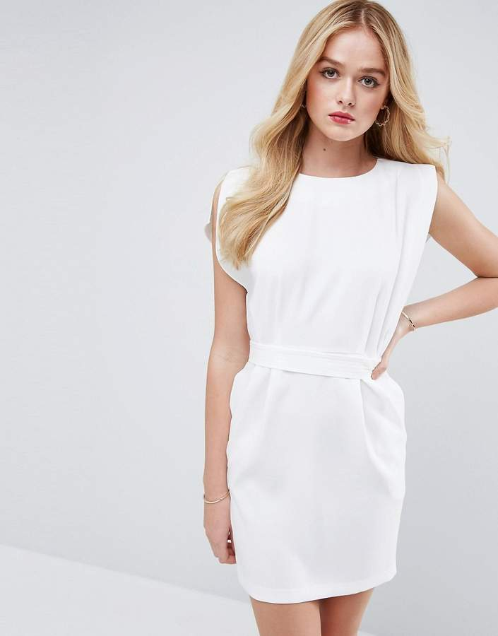 Asos ASOS Belted Mini Dress with Split Cap Sleeve and Pencil Skirt