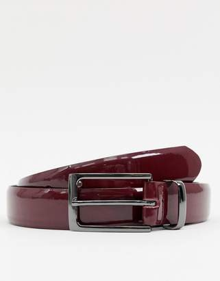 Asos Design DESIGN faux leather slim belt in burgundy patent