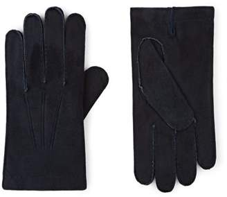 Barneys New York MEN'S CASHMERE-LINED SUEDE GLOVES - BLUE SIZE 9