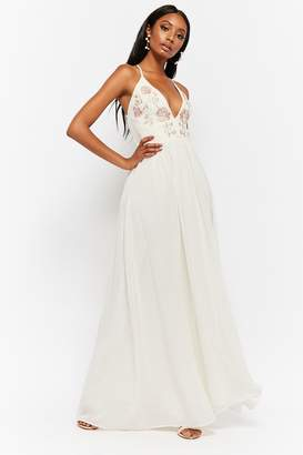 Forever 21 Sheer Floral Embroidered Plunging Chiffon Maxi Dress