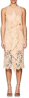 Proenza Schouler WOMEN'S LACE & CHIFFON COCKTAIL DRESS - BEIGE/TAN SIZE 8