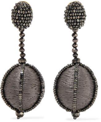 Oscar de la Renta Silk And Bead Clip Earrings - Dark gray
