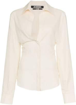 Jacquemus V-neck fitted waist linen cotton blend shirt