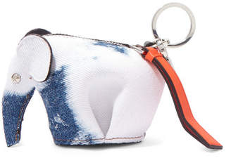 Loewe Elephant Leather-trimmed Denim Bag Charm - Blue
