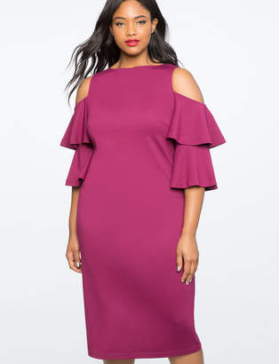 Flounce Sleeve Cold Shoulder Dress