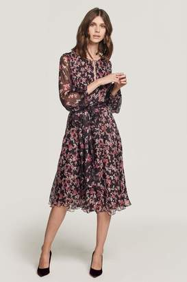 Beulah London Nandita Romantic Floral Chiffon Dress