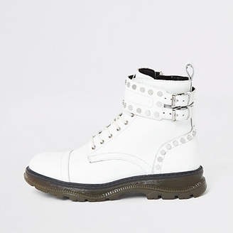 River Island White leather studded lace-up hiking boots
