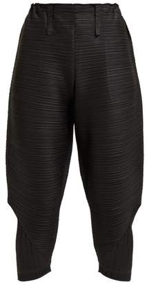 Pleats Please Issey Miyake Thicker Bounce Tech Pleated Tapered Trousers - Womens - Black