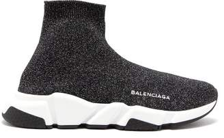 Balenciaga Speed Lurex Trainers - Womens - Black Silver