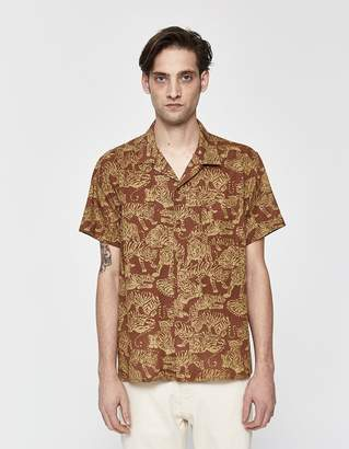 YMC Tiger Malick Vacation Shirt in Brown