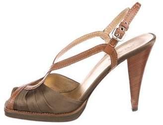 Prada Satin Peep-Toe Sandals