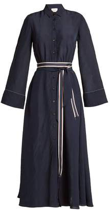 On The Island - Striped Double Belt Dress - Womens - Navy